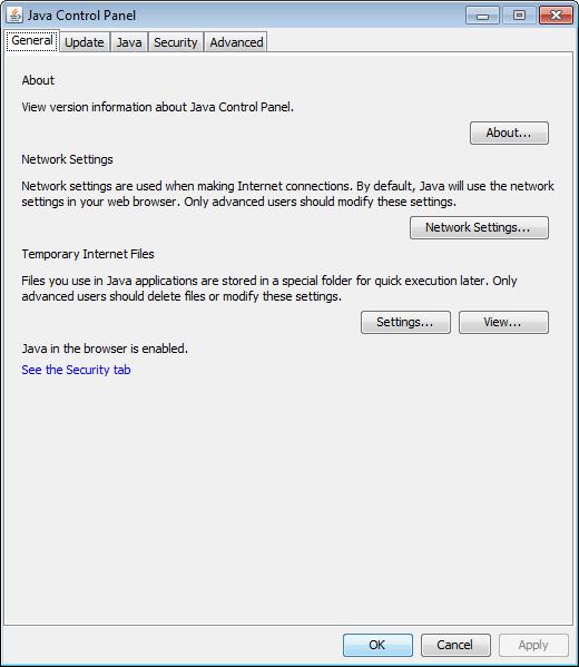 Java Control Panel